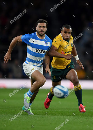 Will Genia of Australia and Martin Landau of Argentina during the The Rugby Championship match between Argentina and Australia played at Twickenham London on 8th October 2016