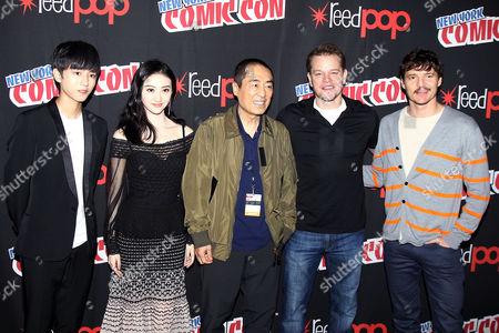 """Wang Junkai, Jing Tian, Zhang """"Zym"""" Yimou (Director), Matt Damon, Pedro Pascal"""