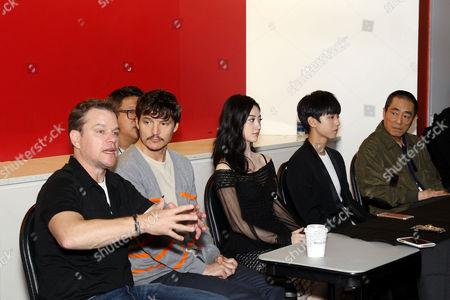 Stock Image of Matt Damon, Pedro Pascal, Jing Tian, Wang Junkai, Zhang Yimou (Director)