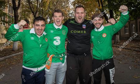 Moldova vs Republic of Ireland. Ireland fans Stephen Dowling, Michael Byrne, Kenny Kedy and Ciaran Lynskey in Chisinau ahead of the game