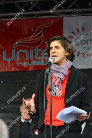 Stock Photo of Sarah Sackman. The 80th anniversary of the Battle of Cable Street is commemorated with a march and rally from Whitechapel to Cable St, St George's Gardens.