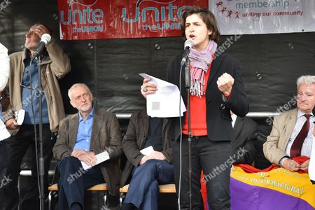 Jeremy Corbyn and Sarah Sackman. The 80th anniversary of the Battle of Cable Street is commemorated with a march and rally from Whitechapel to Cable St, St George's Gardens.