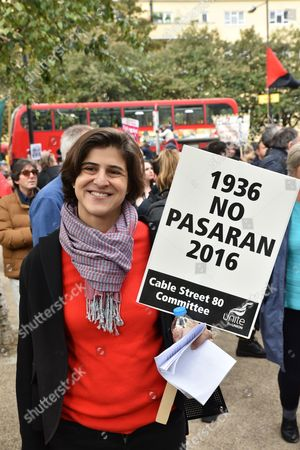 Stock Image of Sarah Sackman. The 80th anniversary of the Battle of Cable Street is commemorated with a march and rally from Whitechapel to Cable St, St George's Gardens.