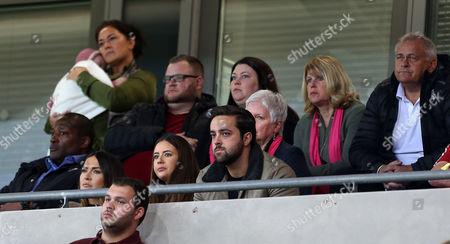 Gareth Bales partner Emma Rhys-Jones (bottom left) and parents (top right) Debbie and Frank Bale.