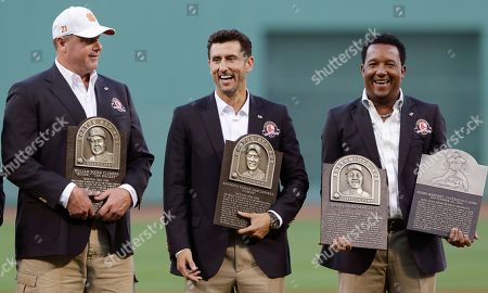 Roger Clemens, Nomar Garciaparra, Pedro Martinez Boston Red Sox greats Roger Clemens, Nomar Garciaparra and Pedro Martinez, from left, with their plaques prior to a game at Fenway Park in Boston, . Clemens, Garciaparra and Martinez were inducted into the Boston Red Sox Hall of Fame earlier in the day