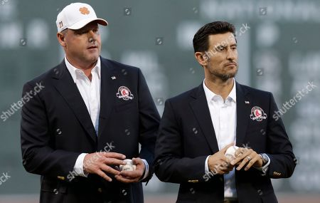 Roger Clemens, Nomar Garciaparra Boston Red Sox greats Roger Clemens and Nomar Garciaparra prior to a baseball game at Fenway Park in Boston