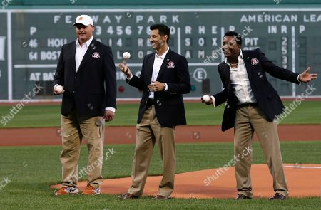 Roger Clemens, Nomar Garciaparra, Pedro Martinez Boston Red Sox greats Roger Clemens, Nomar Garciaparra and Pedro Martinez before throwing out the ceremonial first pitch prior to a baseball game at Fenway Park in Boston