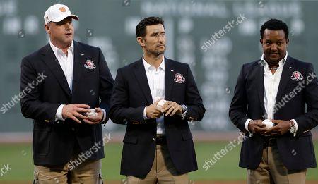 Roger Clemens, Nomar Garciaparra, Pedro Martinez Boston Red Sox greats Roger Clemens, Nomar Garciaparra and Pedro Martinez prior to a baseball game at Fenway Park in Boston