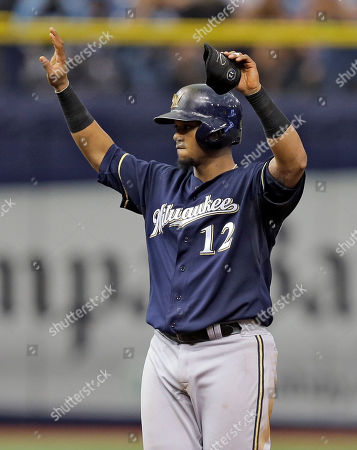 Martin Maldonado Milwaukee Brewers' Martin Maldonado reacts after his RBI double off Tampa Bay Rays starting pitcher David Price during the seventh inning of an interleague baseball game, in St. Petersburg, Fla. Brewers' Mark Reynolds scored on the hit