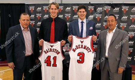 Tom Thibodeau, Gar Forman, Cameron Bairstow, Doug McDermott Chicago Bulls head coach Tom Thibodeau, left, and general manager Gar Forman, right, stand with their first and second round draft picks Cameron Bairstow (41) from Brisbane, Australia, and Creighton University star Doug McDermott, during a news conference, in Deerfield, Ill