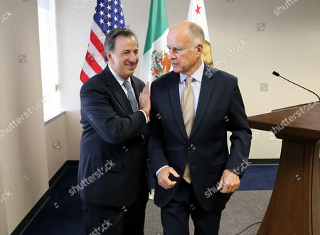 Jose Antonio Meade Kuribrena, Jerry Brown Gov. Jerry Brown, right, and Mexican Secretary of Foreign Affairs Jose Antonio Meade Kuribrena leave a news conference after talking with reporters, in Sacramento, Calif. Brown and Meade attended a luncheon hosted by the California Chamber of Commerce, where they discussed Brown's upcoming visit to Mexico