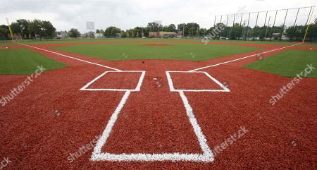 This photo shows the restored field at League Park in Cleveland. The city of Cleveland has invested $6.3 million in restoring the old site of League Park, a historic site where the Cleveland Indians clinched its 1920 World Series title, Babe Ruth hit his 500th home run and where Joe DiMaggio extended his hitting streak to 56 games. Not much of the old ballbark, where Cy Young threw the first pitch in 1891 remains, but the new park will host high school and youth games on its all-turf field and will pay homage to the greats who once played there