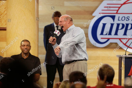 Steve Ballmer, Doc Rivers New Los Angeles Clippers owner Steve Ballmer, joined by head coach Doc Rivers, left, fires up the crowd while speaking at the Clippers Fan Festival, in LA