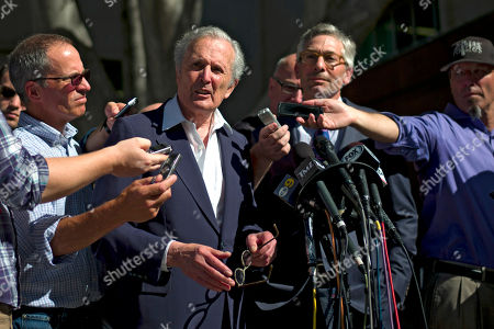 "Bert Fields, Adam Streisand Bert Fields, center left, an attorney for Shelly Sterling, the wife of Los Angeles Clippers owner Donald Sterling, talks to reporters as he is joined by Adam Streisand, an attorney for former Microsoft CEO Steve Ballmer, outside the Los Angeles Superior Court, in Los Angeles. Donald Sterling was testy during his 90-minute appearance Tuesday afternoon, denouncing doctors who declared him to have Alzheimer's disease as ""hired guns,"" pleading a faulty memory about some of his most controversial remarks and repeatedly drawing laughter from spectators during the non-jury trial"
