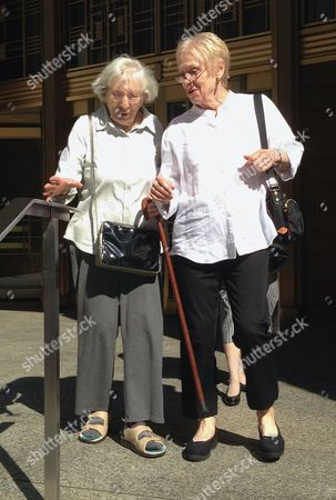 Miriam Moskowitz, Carol Venticinque Miriam Moskowitz reaches for a banister as she leaves court alongside Carol Venticinque in New York where Moskowitz, 98, of New Jersey came to clear her name after she was convicted in 1950 of conspiracy in the run-up to the atomic spying trial of Julius and Ethel Rosenberg. Moskowitz, who once taught math in the same Hackensack, N.J., school where Venticinque taught social studies, said after a brief court hearing that she needs an official vindication that she was wrongly convicted when she was sentenced to two years in prison. Moskowitz filed the request two weeks ago, saying documents now prove the government withheld evidence that would have exonerated her