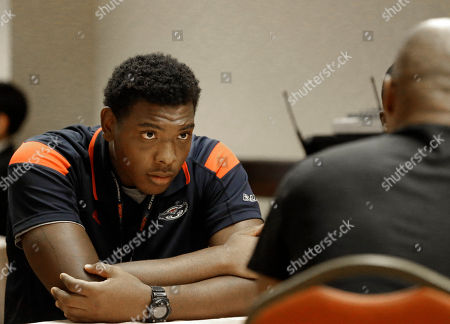 Stock Image of Alex Deleon Florida Atlantic tight end Alex Deleon listens to a reporters' question during the NCAA college Conference USA football media day in Irving, Texas