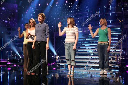 "The last five hopefuls, from left Helena Blackman, Siobhan Dillon, Connie Fisher, Abi Finley, Aoife Mulholland, rehearsing ""So long, farewell, auf Wiedersehen, goodbye"". The show on BBC television is a knockout competition for Andrew Lloyd Webber to find a new star to play Maria von Trapp in a forthcoming stage musical. Connie went on to win."