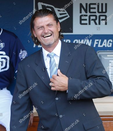 Bud Black, Trevor Hoffman Former San Diego Padres pitcher Trevor Hoffman laughs prior to his induction into the Padres Hall-of-Fame before a baseball game between the Padres and Los Angeles Dodgers in San Diego. Ken Griffey Jr. and Trevor Hoffman are among 15 newcomers on this year's Hall of Fame ballot and will face a newly trimmed electorate along with steroid-tainted holdovers Barry Bonds, Roger Clemens, Mark McGwire and Sammy Sosa