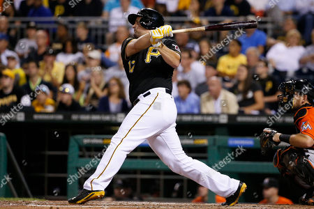Gaby Sanchez Pittsburgh Pirates' Gaby Sanchez drives in two runs with a double off Miami Marlins relief pitcher Mike Dunn during the seventh inning of a baseball game in Pittsburgh on . The Pirates won 7-3