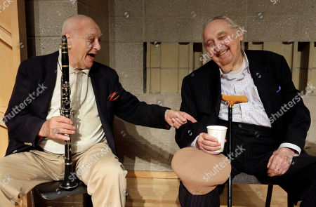 Stock Photo of Sol Yaged, Fyvush Finkel Clarinetist Sol Yaged, 91, left, and comedian Fyvush Finkel, trade jokes during a rehearsal at the Baruch Performing Arts Center, in New York