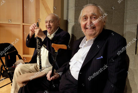 Stock Image of Sol Yaged, Fyvush Finkel Clarinetist Sol Yaged, 91, left, and comedian Fyvush Finkel, rehearse at the Baruch Performing Arts Center, in New York