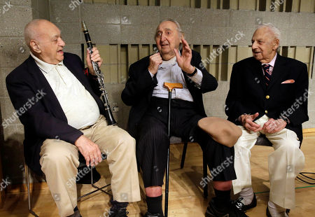 Sol Yaged, Irving Fields, Fyvush Finkel Clarinetist Sol Yaged, 91, comedian Fyvush Finkel, 91 and composer Irving Fields, 99, left to right, pose for photos after a rehearsal at the Baruch Performing Arts Center, in New York