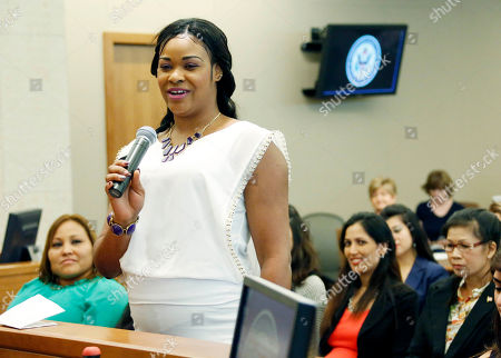Kemeisha Latoya Morrison New American citizen, Kemeisha Latoya Morrison, formerly a citizen of Jamacia, stands among other newly sworn in citizens and expresses her feelings about becoming an American citizen, at the federal courthouse in Jackson, Miss. Twenty three individuals from 15 different countries took the Oath of Allegiance as they became the newest citizens of the United States, during a naturalization ceremony presided by U.S. District Judge Daniel P. Jordan III in Jackson, Miss. Jordan noted they arrived at his courtroom as citizens of different countries, but all will leave as citizens of one country--the United States of America
