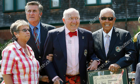 Rosie Casals, Charlie Pasarell, Nick Bollettieri, Bud Collins Tennis Hall of Famers, from left, Rosie Casals, Charlie Pasarell, Bud Collins and Nick Bollettieri are shown during induction ceremonies at the International Tennis Hall of Fame in Newport, R.I. Collins, the tennis historian and American voice of the sport in print and on TV for decades, died at home in Brookline, Mass., his wife, Anita Ruthling Klaussen said. He was 86