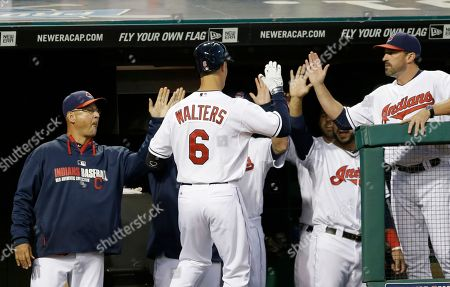 Stock Picture of Zach Walters Cleveland Indians manager Terry Francona, left, and teammates congratulate Zack Walters after Walters hit a solo home run off Baltimore Orioles starting pitcher Wei-Yin Chen in the fifth inning of a baseball game, in Cleveland