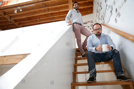 Jason Ahmad, Juan Bruce Jason Ahmad, top, Epoxy TV chief product officer and co-founder, and Juan Bruce, right, CEO and co-founder, pose for photos at the headquarters of the company, in a Venice, Calif. complex formerly occupied by the late actor Dennis Hopper. The relocation of tech companies to southern California is part of a growing movement of U.S. cities seeking to duplicate the formula that turned northern California's Silicon Valley, slightly south of San Francisco, into a mecca of society-shifting innovation and immense wealth