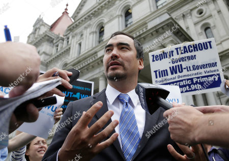 Tim Wu Tim Wu, a candidate for New York lieutenant governor, talks to reporters outside the state Capitol, in Albany, N.Y