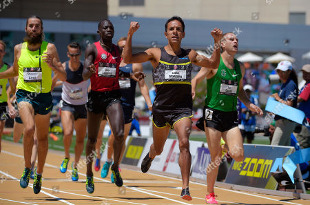 Leo Manzano, Pat Casey, Lopez Lomong Leo Manzano, second from right, wins the men's 1,500 meters at the U.S. outdoor track and field championships, in Sacramento, Calif. Pat Casey, right, took second and Lopez Lomong, second from left, took third