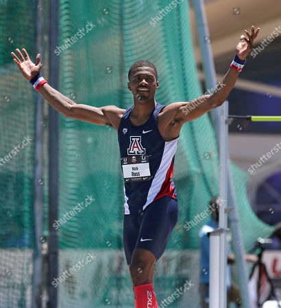 Nick Ross Nick Ross celebrates after clearing the bar at 7 feet, 5 3/4 inches inches to take second place in the men's high jump at the U.S. outdoor track and field championships, in Sacramento, Calif
