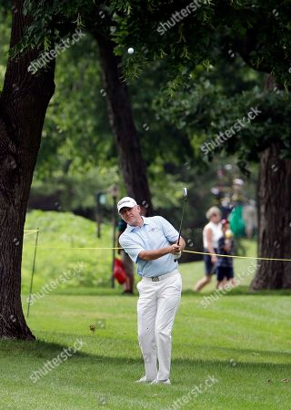 Roger Chapman Roger Chapman hits his second shot on the first hole during the second round of the Encompass Championship golf tournament in Glenview, Ill