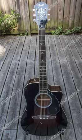 "This photo shows the Fender Wayne Kramer ""Royal Tone"" Dreadnought CE acoustic guitar, in Decatur, Ga"