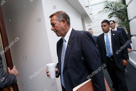John Boehner House Speaker John Boehner of Ohio arrives for a Republican Conference meeting on Capitol Hill in Washington, as candidates for House GOP leadership posts make their pitches to the rank-and-file in the tumultuous aftermath of House Majority Leader Eric Cantor's sudden loss last week in his Virginia primary race. Rep. Kevin McCarthy of California, is the strong favorite to become the new majority leader, if he staves off a longshot challenge from conservative Rep. Raul Labrador of Idaho