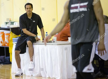 Erik Spoelstra Miami Heat coach Erik Spoelstra watches his team during a practice session in Miami, as they prepare for game three in their playoff series against the Indiana Pacers