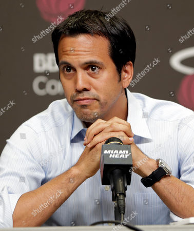Erik Spoelstra Miami Heat head coach Erik Spoelstra pauses as he talks to reporters during a news conference in Miami, . The Miami Heat held their season-wrapup team meeting on Tuesday afternoon and one of the biggest questions is about the future of the roster. LeBron James could become a free agent in a couple of weeks and the four-time MVP says he still has not thought about his plans