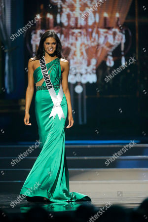 Miss North Dakota USA Audra Mari Miss North Dakota USA Audra Mari participates in the evening gown competition during the 2014 Miss USA preliminary competition in Baton Rouge, La