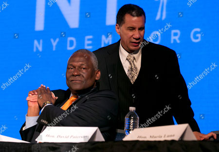 David Paterson, Keith Wright Former New York Gov. David Paterson, right, is congratulated by Assemblyman Keith Wright after his address to the opening session of the state's Democratic Convention, in Melville, N.Y., . David Paterson will be the new chairman of the New York State Democratic Party