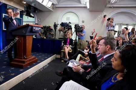 Jay Carney Outgoing White House press secretary Jay Carney calls on a reporter during his last briefing as secretary in the press briefing room of the White House, in Washington