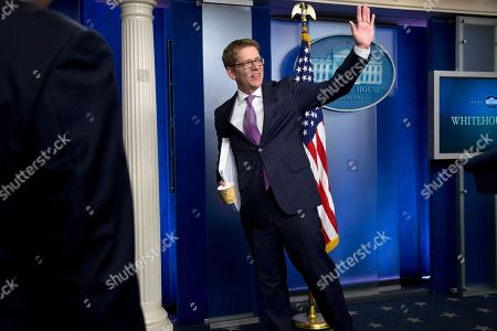 Jay Carney Outgoing White House press secretary Jay Carney waves following the conclusion of his final news briefing at the White House in . This was Carney's last briefing to members of the media, he is stepping down as White House press secretary and Deputy Press Secretary Josh Earnest will step into the role