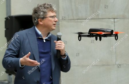 Henri Seydoux Parrot CEO Henri Seydoux speaks as a Parrot Bebop drone flies during a demonstration at a Parrot event in San Francisco, . The Parrot Bebop drone, which has a 14-megapixel fish-eye camera lens and battery life of about 12 minutes flying time, is scheduled to be released later this year