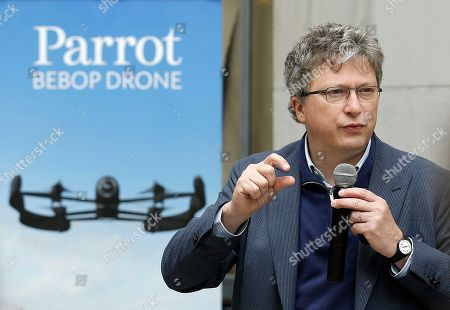 Henri Seydoux Parrot CEO Henri Seydoux speaks at a Parrot event in San Francisco, . The Parrot Bebop drone, which has a 14-megapixel fish-eye camera lens and battery life of about 12 minutes flying time, is scheduled to be released later this year