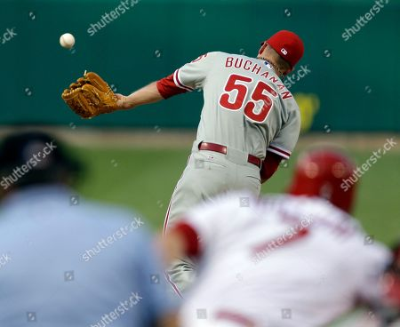 David Buchanan Philadelphia Phillies starting pitcher David Buchanan (55) cannot catch a ball hit back to him by St. Louis Cardinals' Matt Holliday during the first inning of a baseball game, in St. Louis. Holliday was thrown out at first by Phillies shortstop Jimmy Rollins on the play