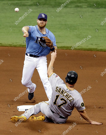 Stock Photo of Logan Forsythe, Gaby Sanchez Tampa Bay Rays second baseman Logan Forsythe forces Pittsburgh Pirates' Gaby Sanchez at second base on a fielder's choice by Russell Martin during the seventh inning of an interleague baseball game, in St. Petersburg, Fla