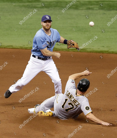 Logan Forsythe, Gaby Sanchez Tampa Bay Rays second baseman Logan Forsythe forces Pittsburgh Pirates' Gaby Sanchez at second base on a fielder's choice by Russell Martin during the seventh inning of an interleague baseball game, in St. Petersburg, Fla