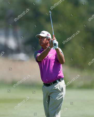 Stock Image of Steve Pate Steve Pate watches his fairway shot on the first hole during the final round of the 75th Senior PGA Championship golf tournament at Harbor Shores Golf Club in Benton Harbor, Mich