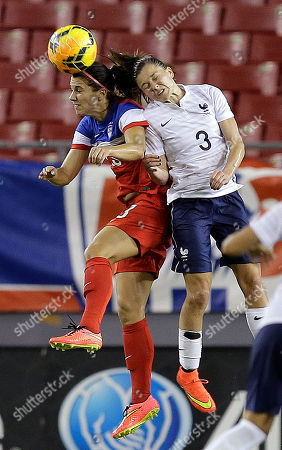 Alex Morgan, Laure Boulleau United States forward Alex Morgan, left, heads the ball in front of France defender Laure Boulleau (3) during the second half of a women's friendly soccer match, in Tampa, Fla. The U.S. won the game 1-0