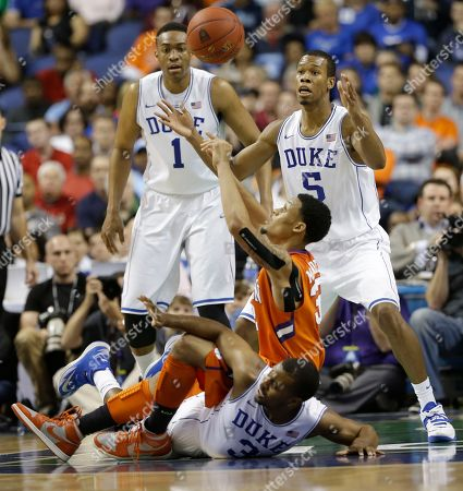 K.J. McDaniels, Tyler Thornton, Jabari Parker, Rodney Hood Clemson's K.J. McDaniels, top, and Duke's Tyler Thornton, bottom, battle for a loose ball as Duke's Rodney Hood (5) and Jabari Parker (1) watch during the first half of a quarterfinal NCAA college basketball game at the Atlantic Coast Conference tournament in Greensboro, N.C